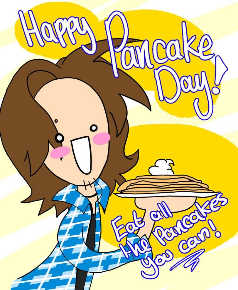 Happy-Pancake-Day-Eat-All-The-Pancakes-You-Can-Girl-With-Pancake-Cartoon-Picture